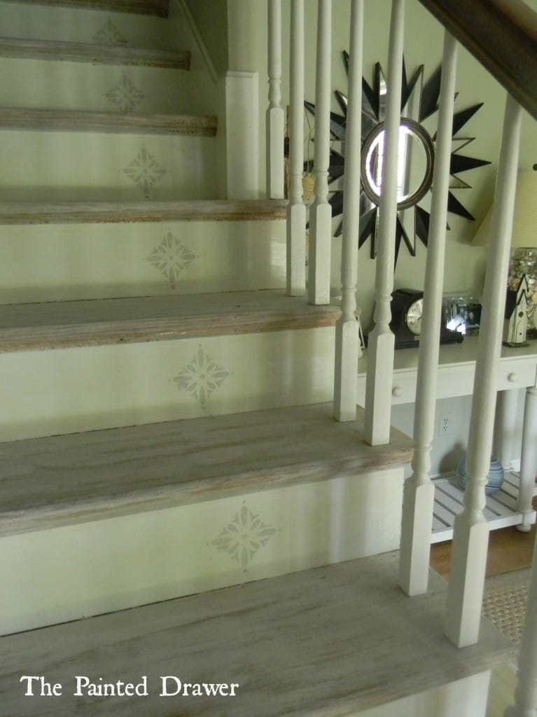 Whitewashed Stairs at www.thepainteddrawer.com