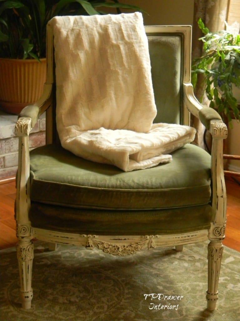 Vintage Green Velvet Chair www.thepainteddrawer.com