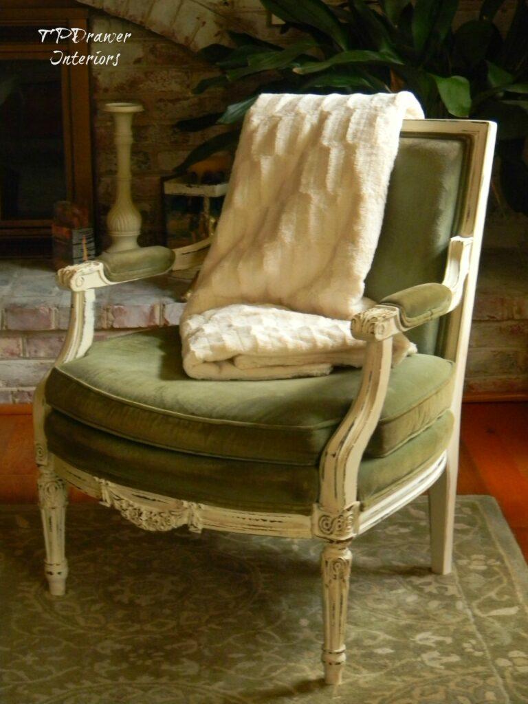 Green Velvet Vintage Chair www.thepainteddrawer.com