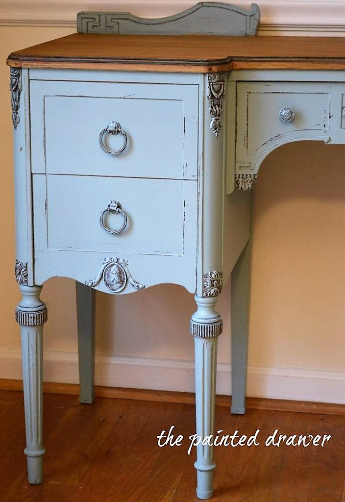 Throwback Vintage Vanity in Persian Blue Before and After