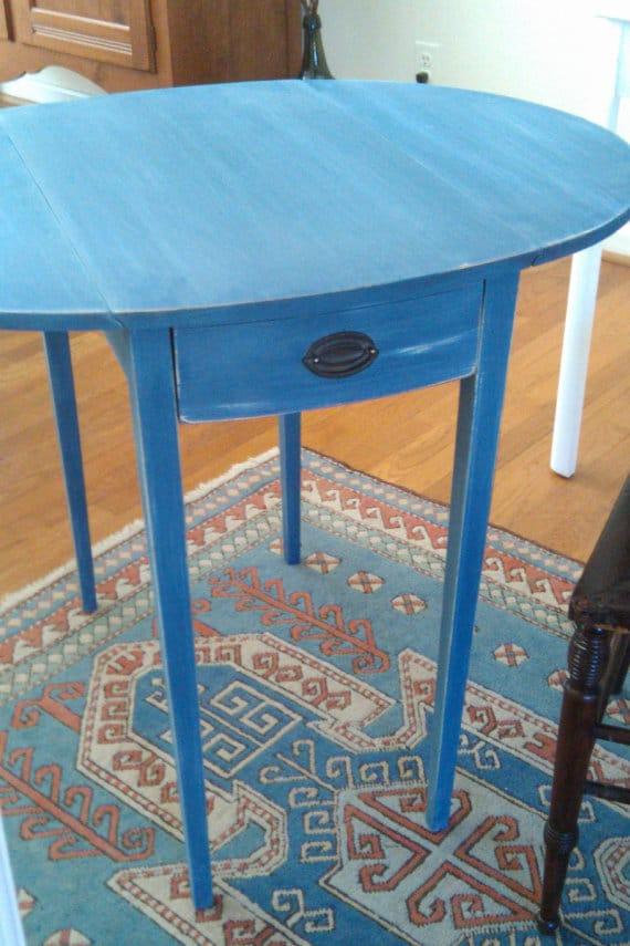 Vintage Blue Table www.thepainteddrawer.com