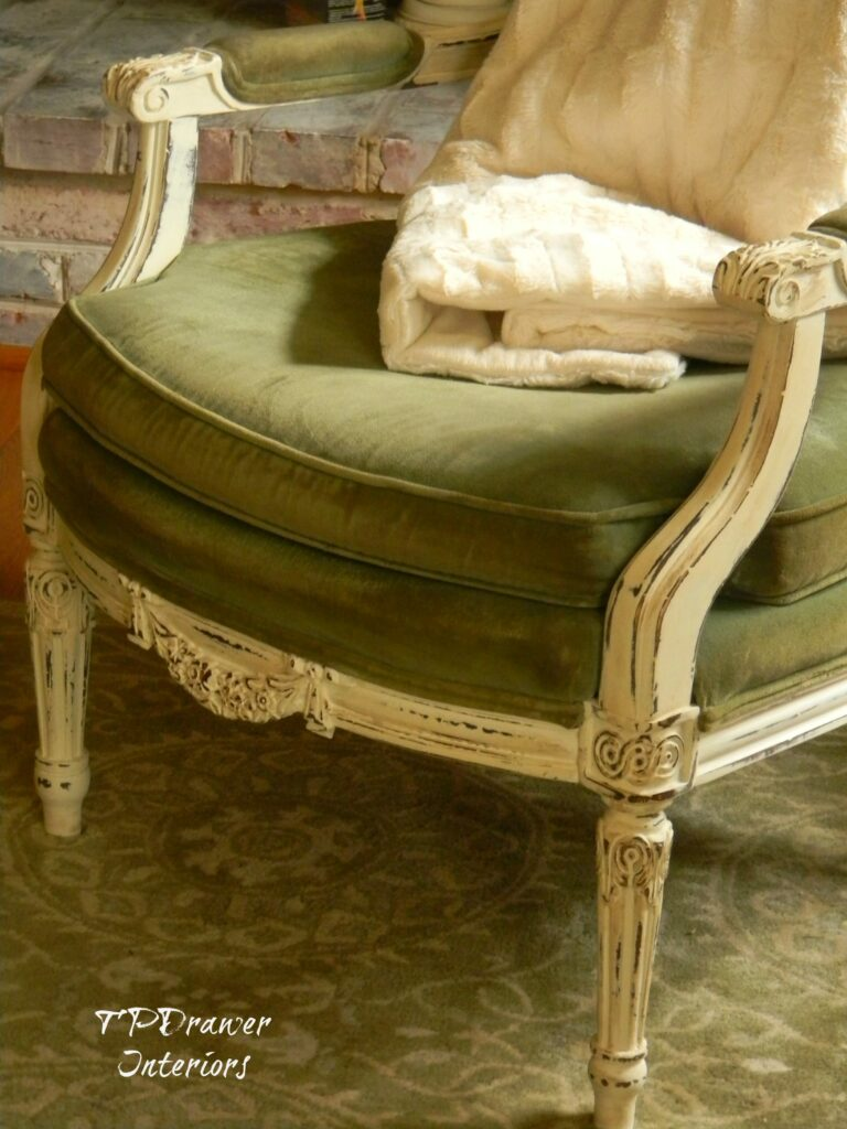French Velvet Chair www.thepainteddrawer.com