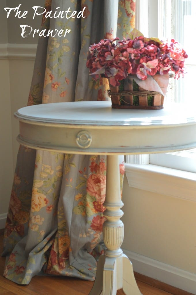 Vintage Drum Table www.thepainteddrawer.com