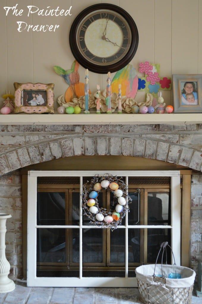 Easter Mantel www.thepainteddrawer.com