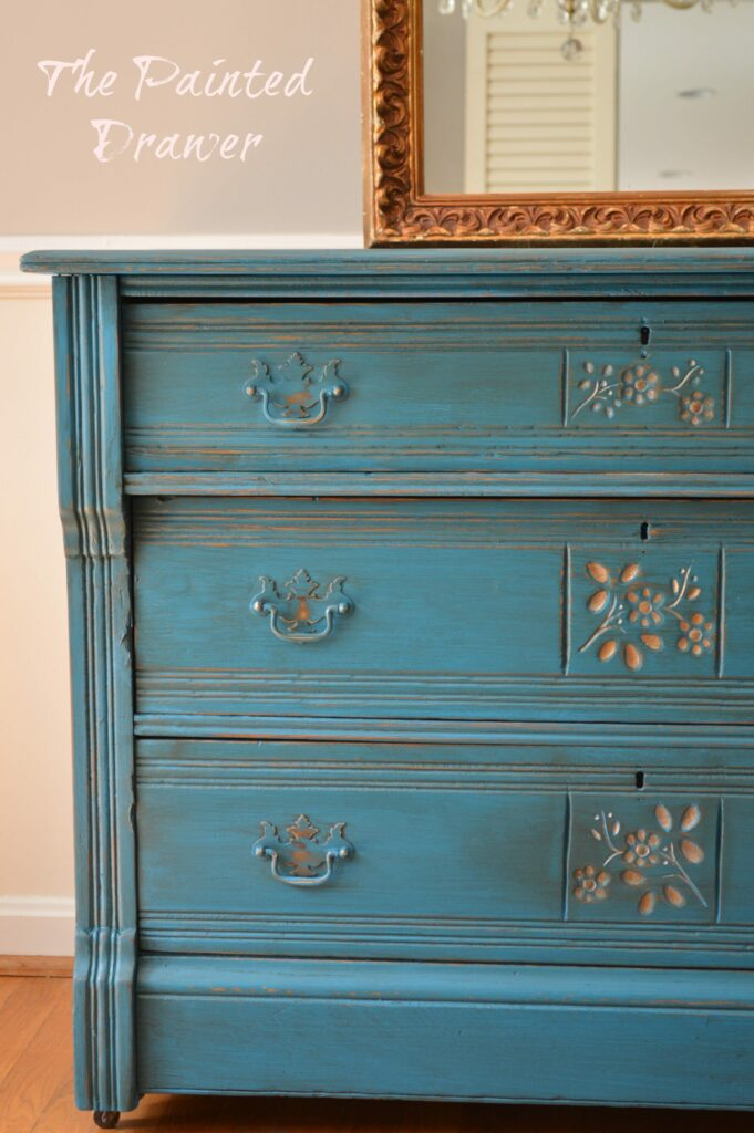 Peacock Blue Eastlake Dresser