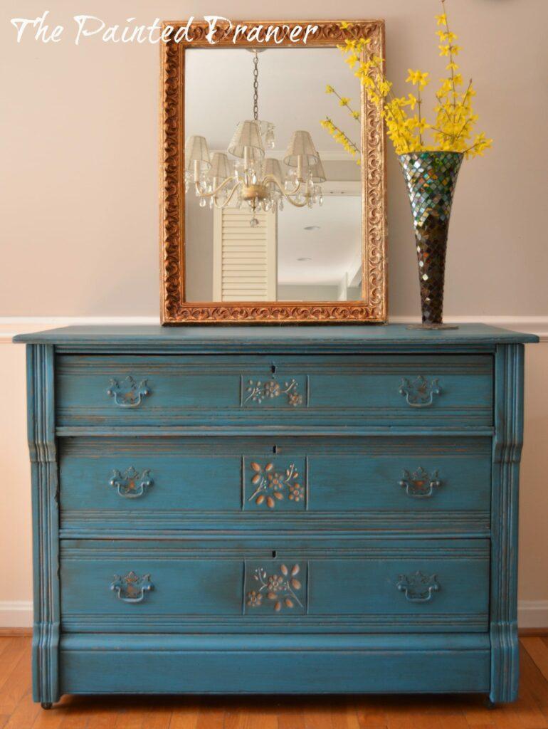 Peacock Blue Eastlake Dresser Suzanne Bagheri