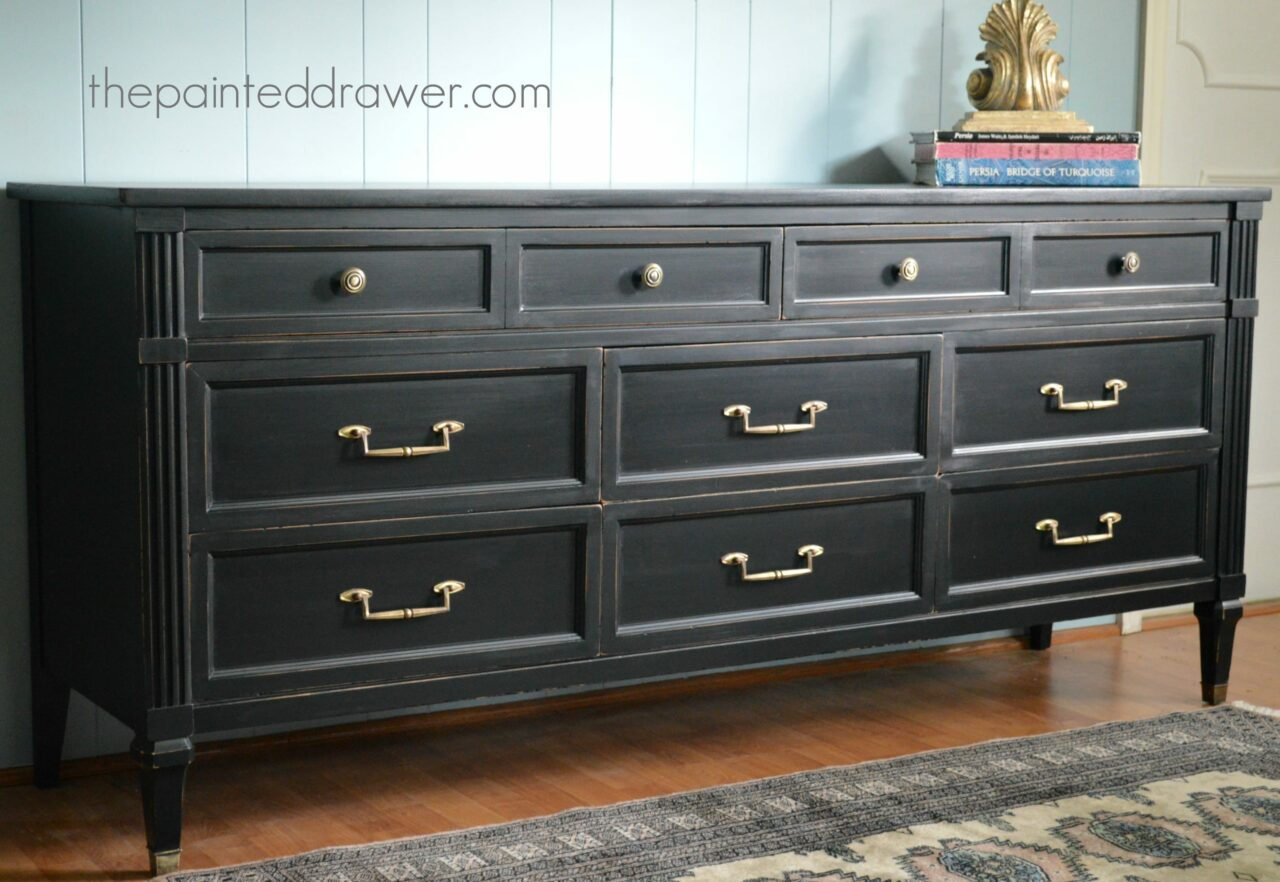Painting furniture black distressed - And Now The Dresser Has Gone Glam Black15 Black
