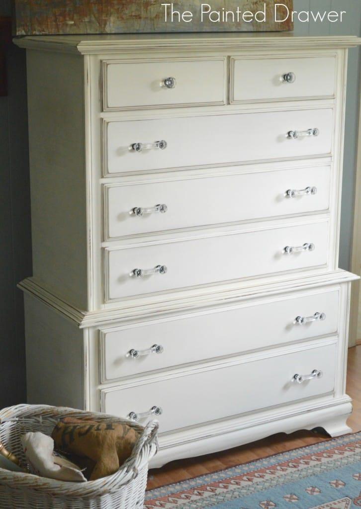 Creamy White Vintage Dresser www.thepainteddrawer.com