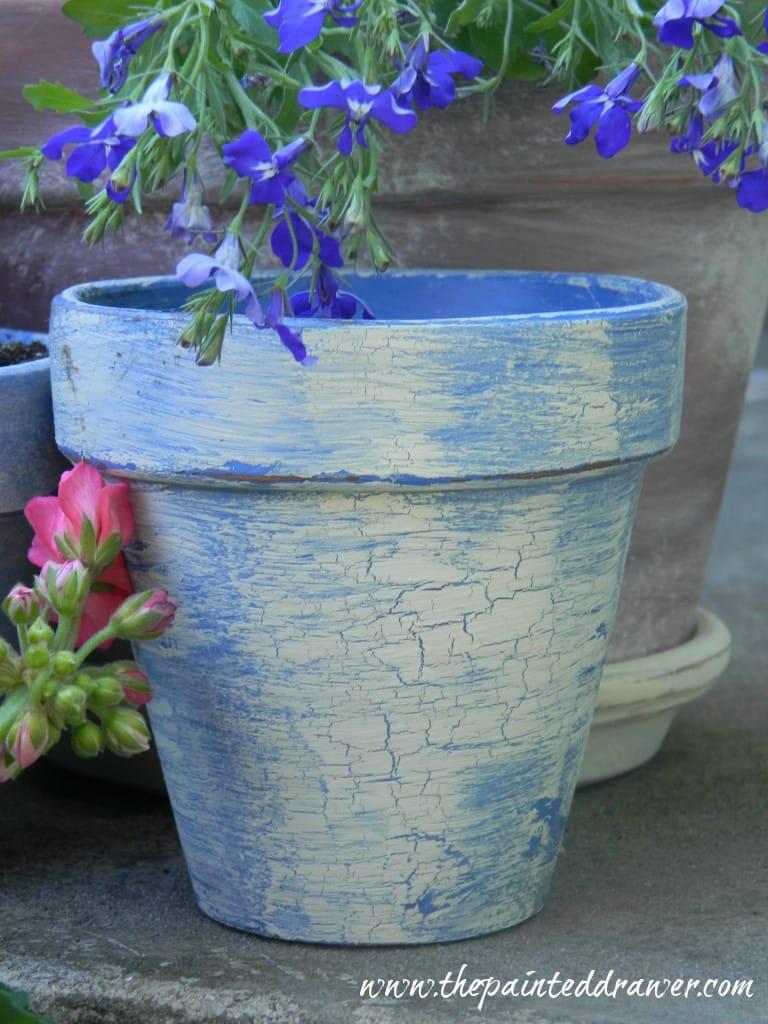 Chalk Paint Flower Pot www.thepainteddrawer.com