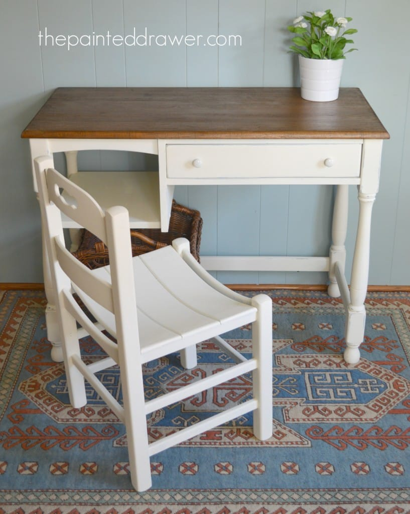Vintage Desk and Planked Chair www.thepainteddrawer.com