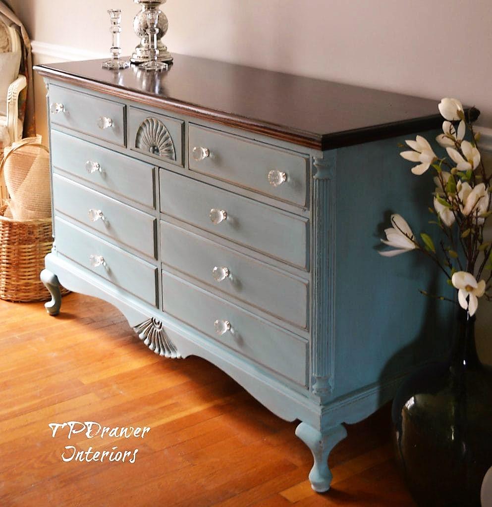 Vintage Dresser Makeover in Blue