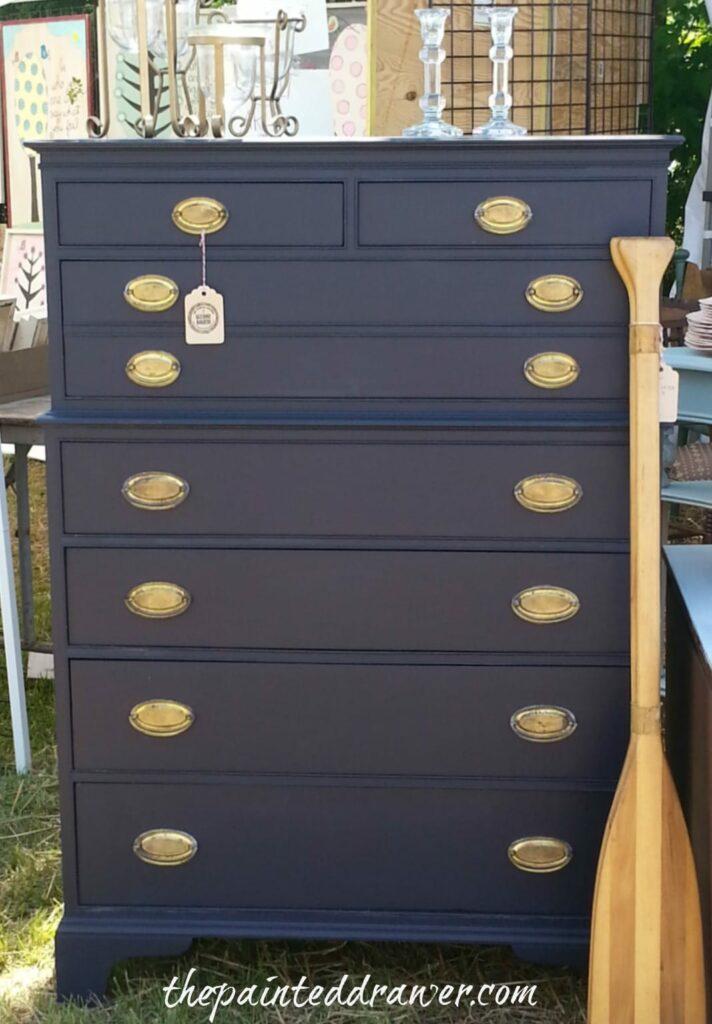Navy Dresser www.thepainteddrawer.com