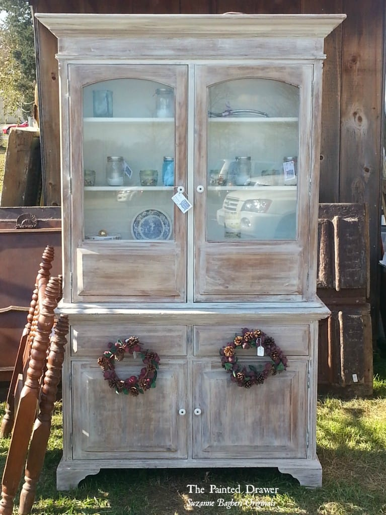 Whitewashed Cabinet www.thepainteddrawer.com