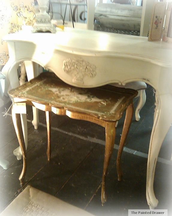 Old White and Small Gold French Tables