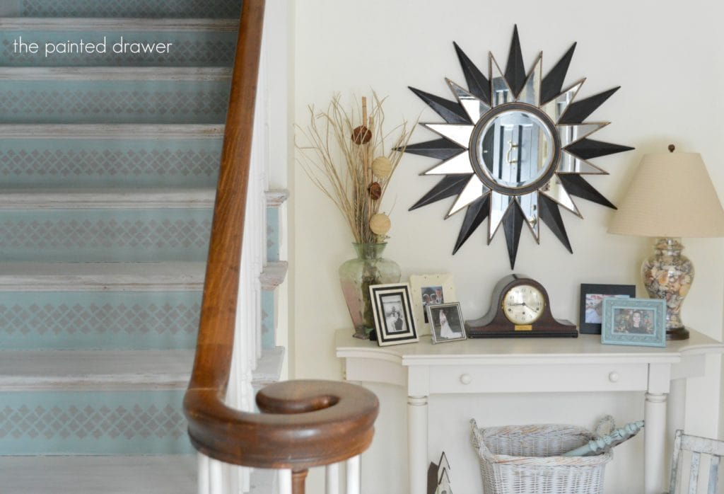 Whitewashed Stairs and a Foyer Makeover