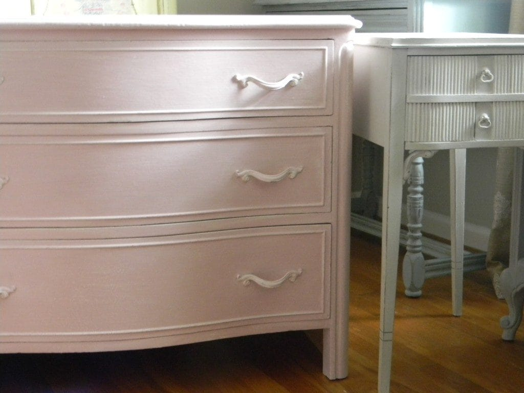 Pink Dresser by www.thepainteddrawer.com painted in Annie Sloan Chalk Paint Antoinette perfect for a little girls room