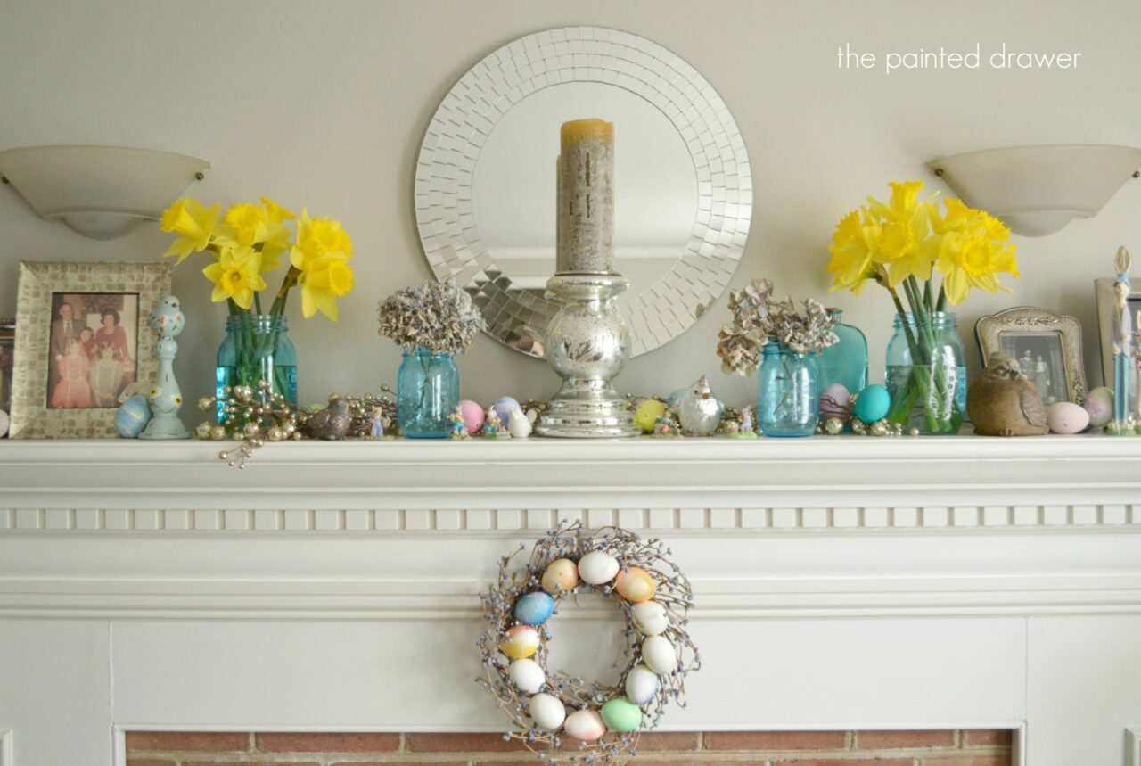 Daffodils and spring mantel decorating ideas for Accents decoration