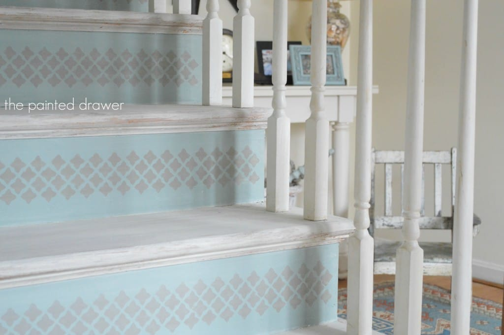 Whitewashed Stairs www.thepainteddrawer.com