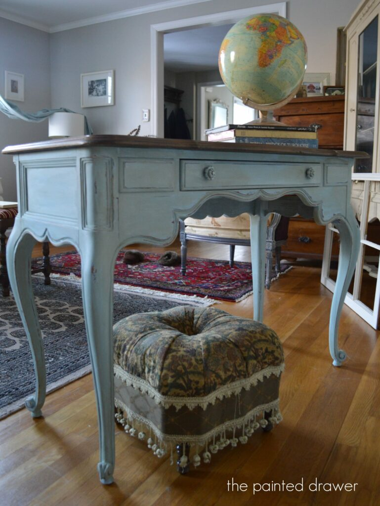 Blue French Desk www.thepainteddrawer.com