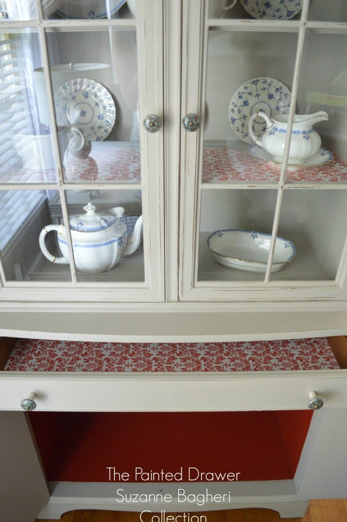 Greige Farmhouse Cabinet with Coral