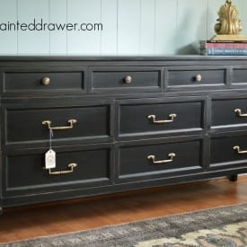 Classic Dresser painted in Lamp Black by www.thepainteddrawer.com Full Before and After on the Blog