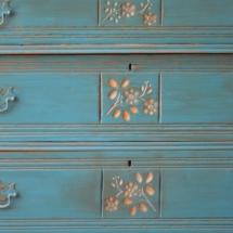 Corinth Blue with Burnt Umber Glaze