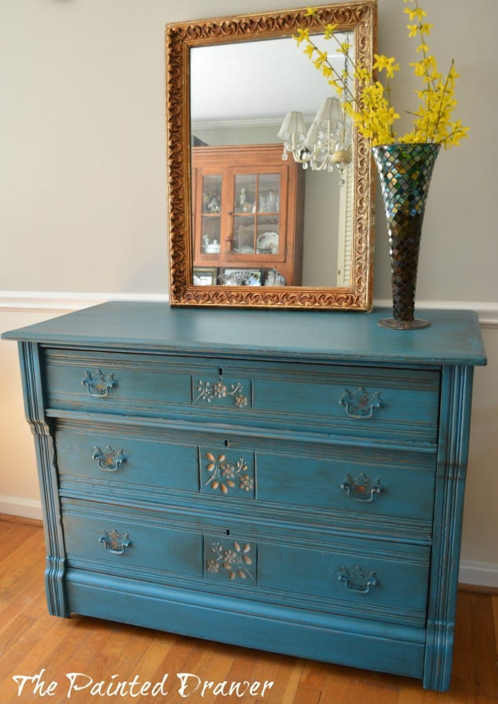 General Finishes Cornith Blue dresser www.thepainteddrawer.com