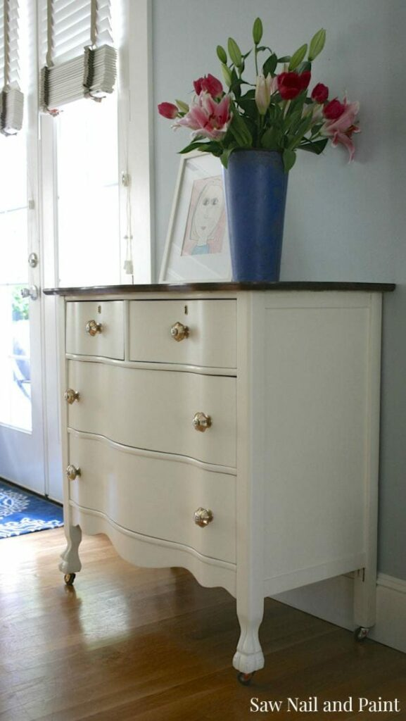 Saw Nail and Paint Serpentine Dresser