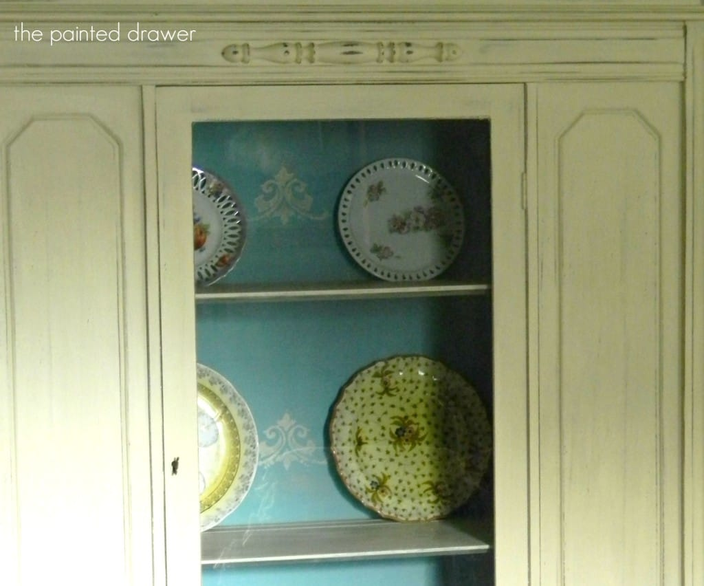 Stenciled Cabinet Interior