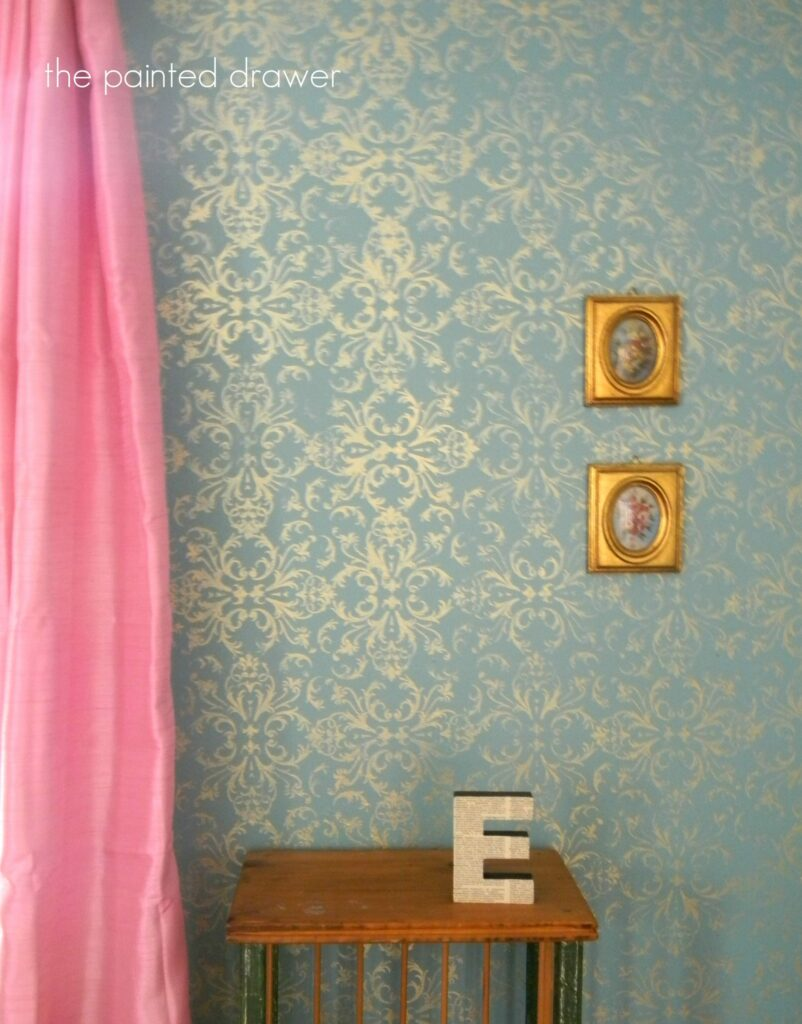 Stenciling painted furniture it gives the look of wallpaper with paint if you look on pinterest you can find tons of ideas for stenciled walls amipublicfo Images