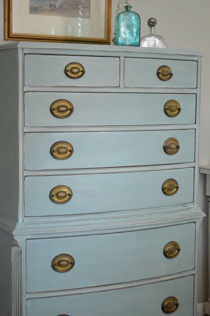 Vintage Dresser in Duck Egg Blue and Gold thepainteddrawer.com