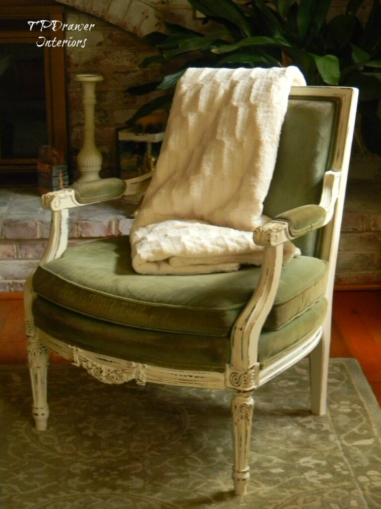 Vintage Green Velvet Chair www.thepainteddrawer.com