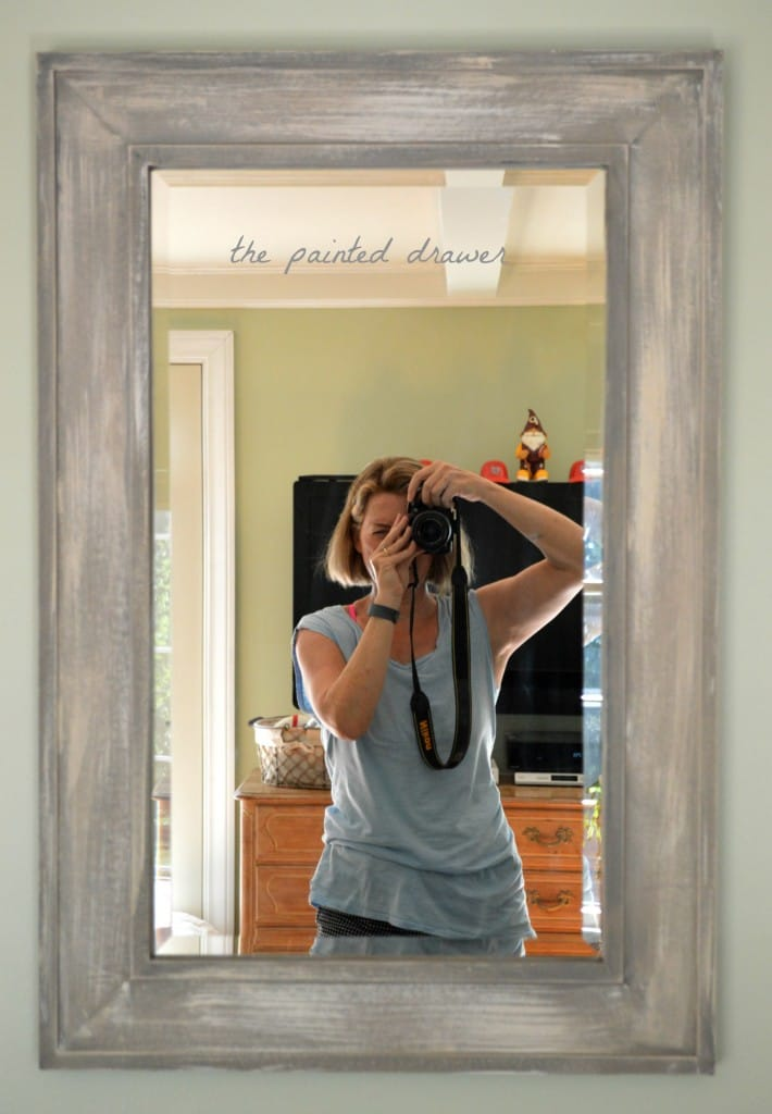 Faux Weathered Wood Mirror www.thepainteddrawer.com