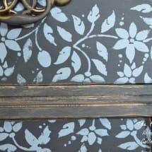 Graphite farmhouse Stenciled Dresser www.thepainteddrawer.com