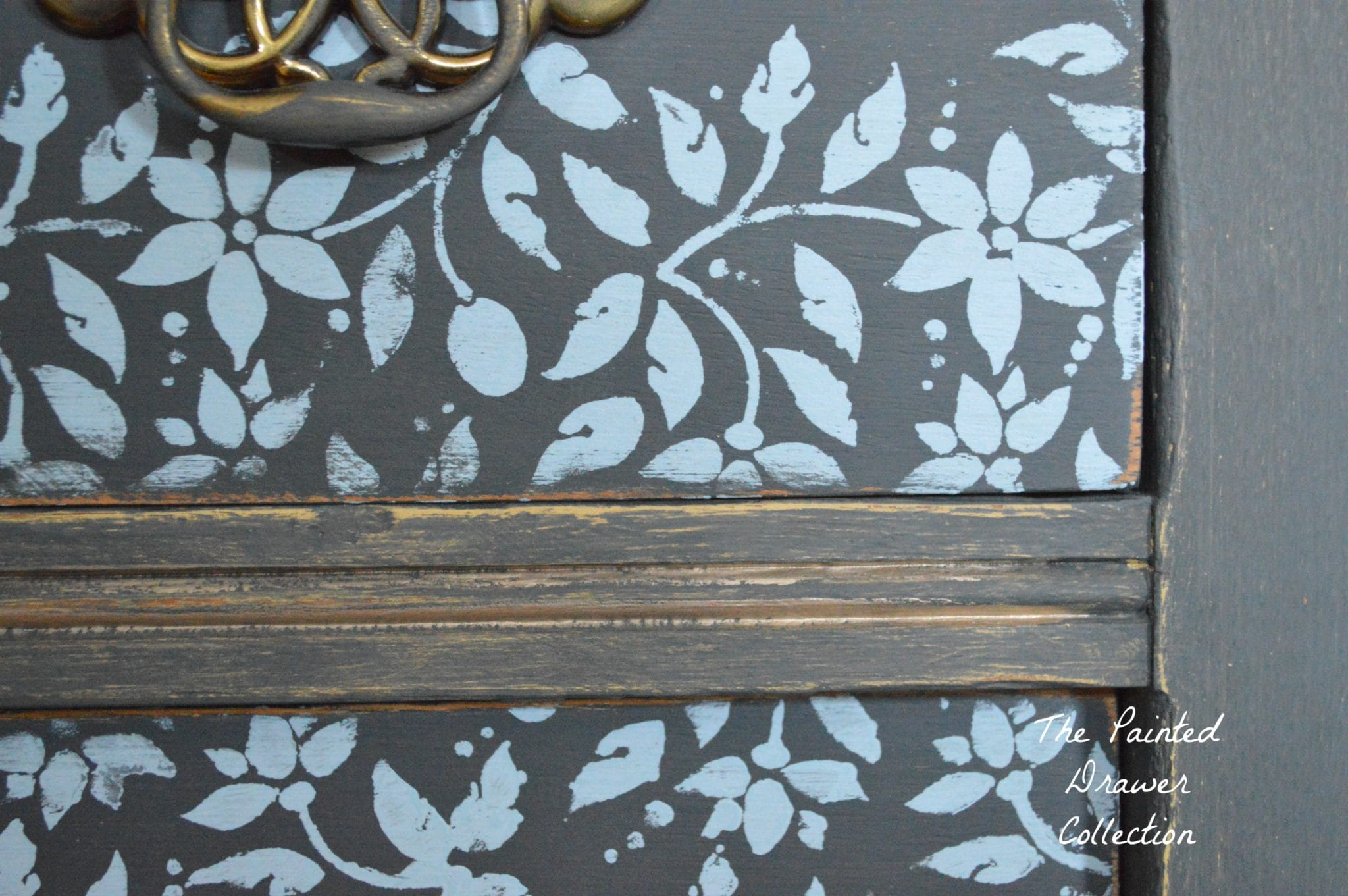 Graphite farmhouse Stenciled Dresser www.thepainteddrawer.com