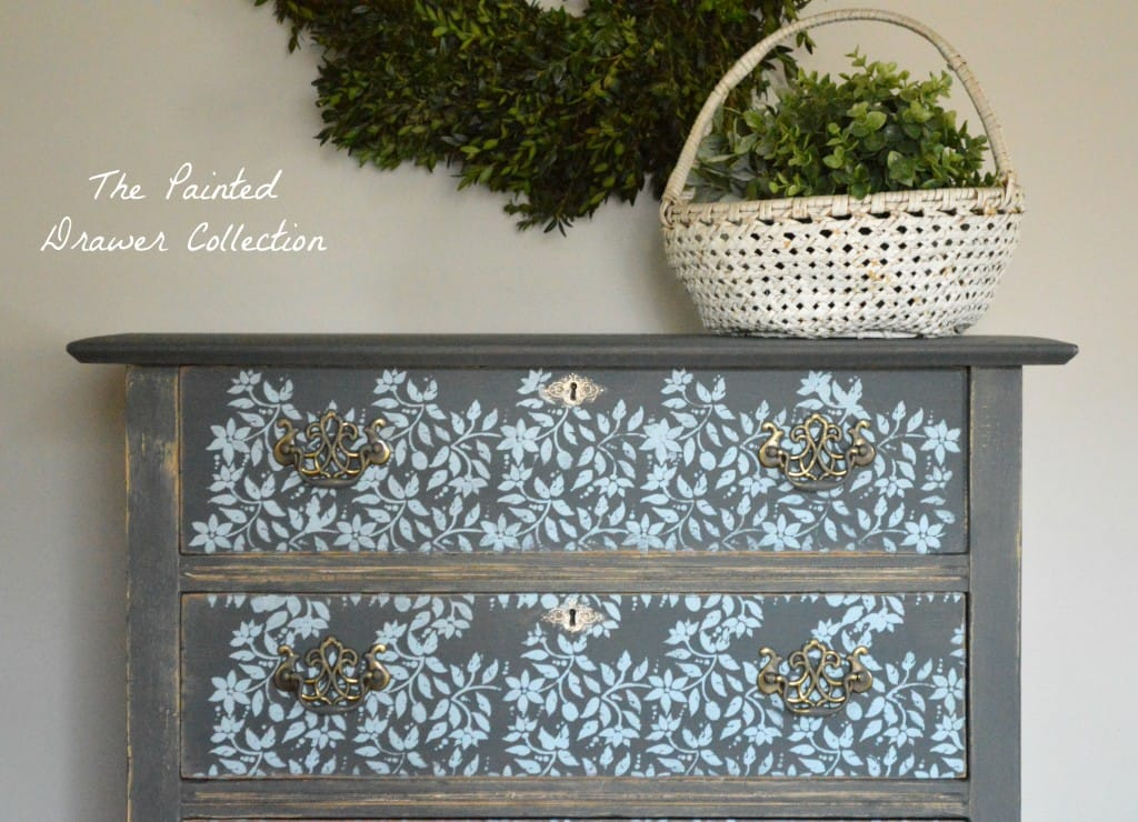 Graphite and Gold Stenciled Farmhouse Dresser