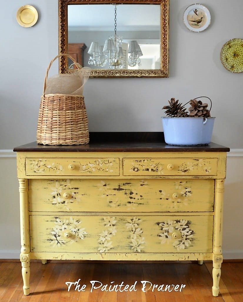 Chippy Mustard Farmhouse Dresser Before and After