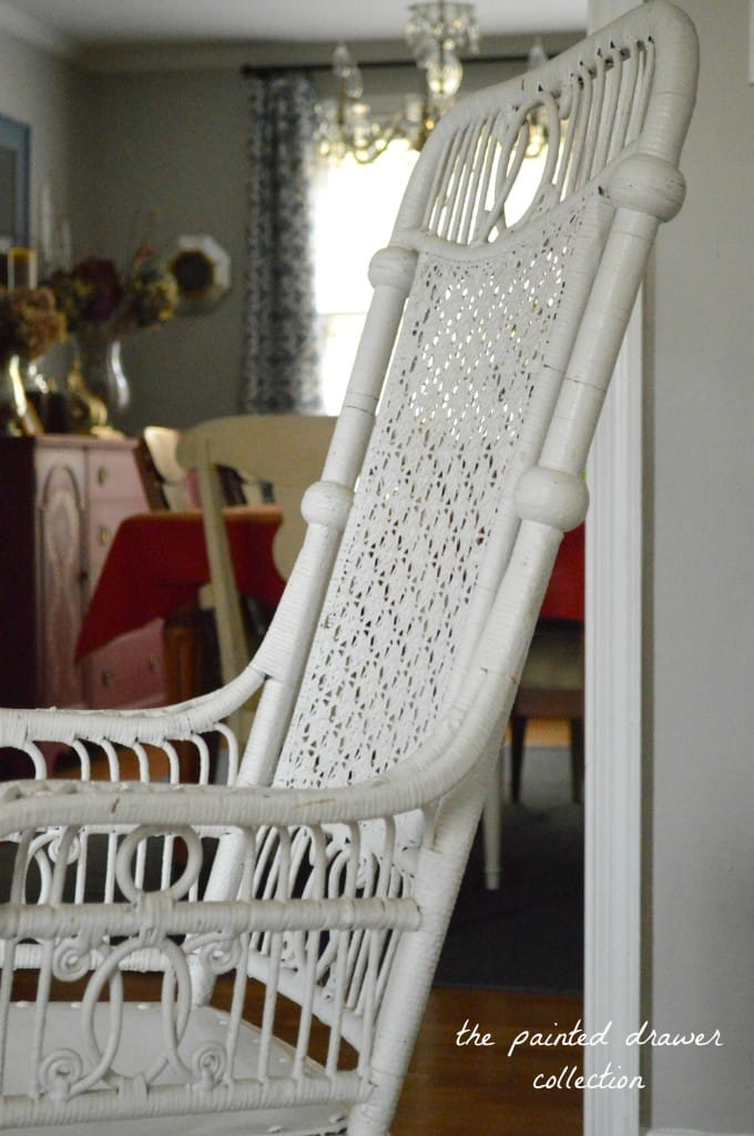Vintage Wicker Chair www.thepainteddrawer.com