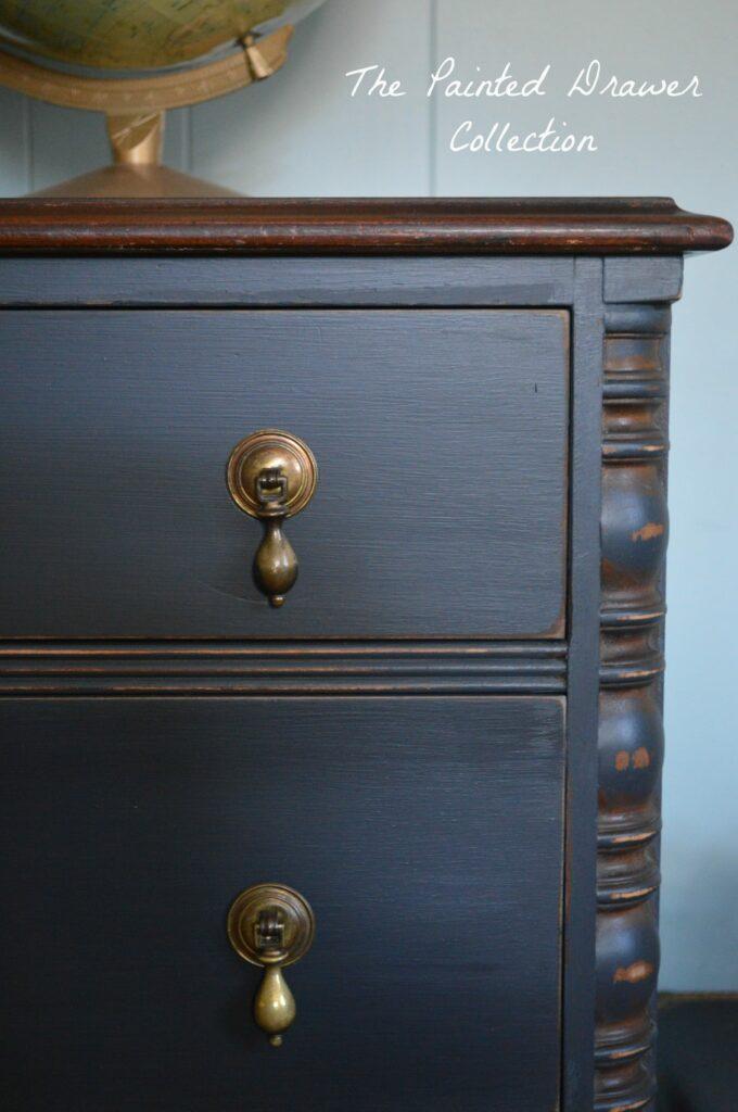 Black Vintage Dresser in General Finishes Chalk Style Paint