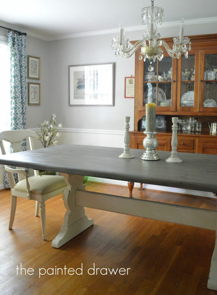 Farmhouse Table in Dining Room by www.thepainteddrawer.com before and after on blog
