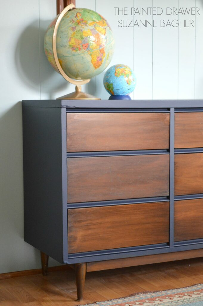 Mid-Century Modern dresser makeover in navy with stain