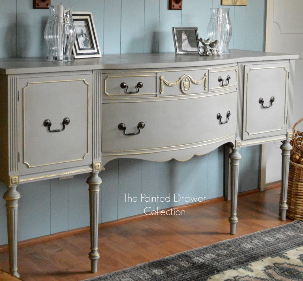 French Linen and Gold Sideboard Transformation – Before and After