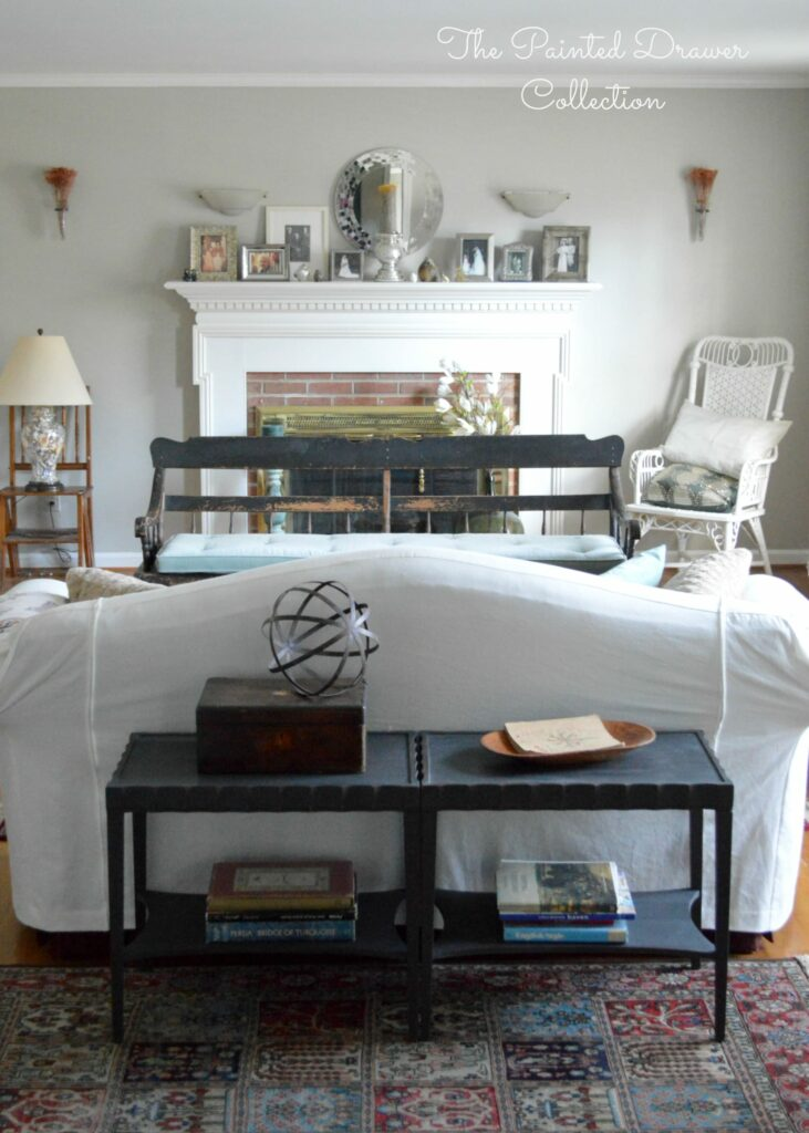 Vintage Deacon Bench, Painted Black, antique bench, farmhouse bench, A vintage deacon's bench with a chippy paint finish is this week's favorite find Monday on www.thepainteddrawer.com! Cottage Living Room, black painted furniture