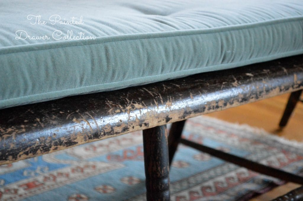 Vintage Deacon Bench, Painted Black, antique bench, A vintage deacon's bench with a chippy paint finish is this week's favorite find Monday on www.thepainteddrawer.com!