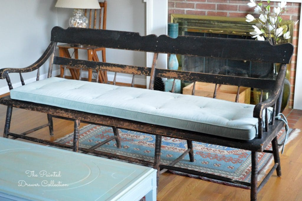 Vintage Deacon Bench, Painted Black, antique bench, Farmhouse Bench, A vintage deacon's bench with a chippy paint finish is this week's favorite find Monday on www.thepainteddrawer.com!