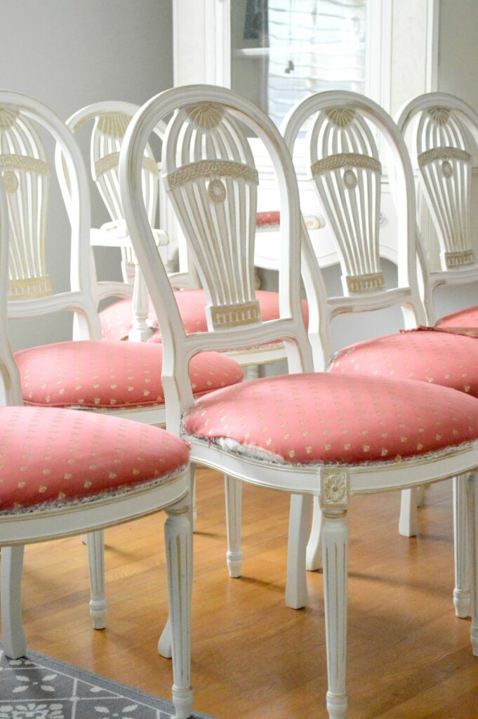Antique White and Gold Dining Chairs – Whew