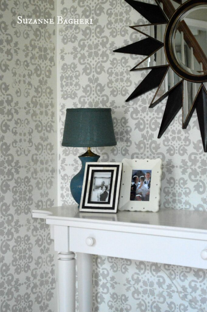 Stenciled Foyer Walls by www.thepainteddrawer.com, full tutorial on blog at www.thepainteddrawer