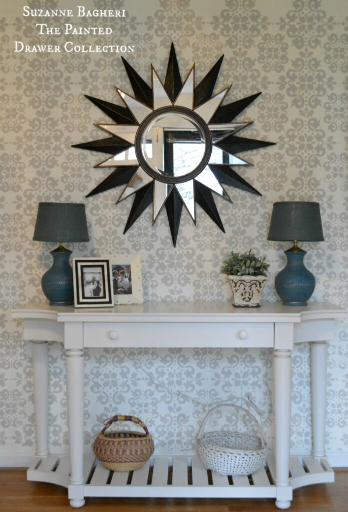 Stenciled Foyer Walls in BM Revere Pewter with full tutorial on the blog www.thepainteddrawer