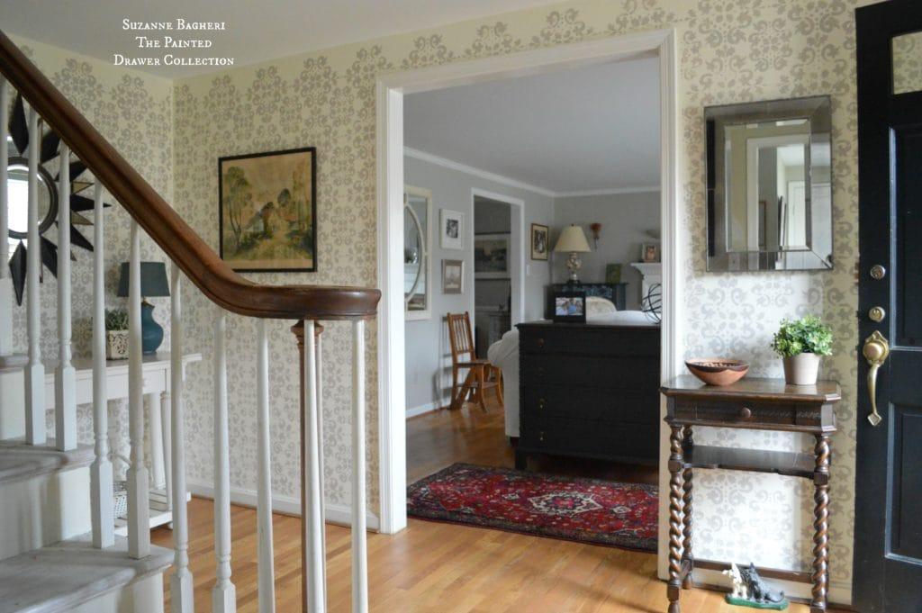 Stenciled Walls, Stenciled Foyer Walls in Benjamin Moore Revere Pewter - full tutorial on www.thepainteddrawer