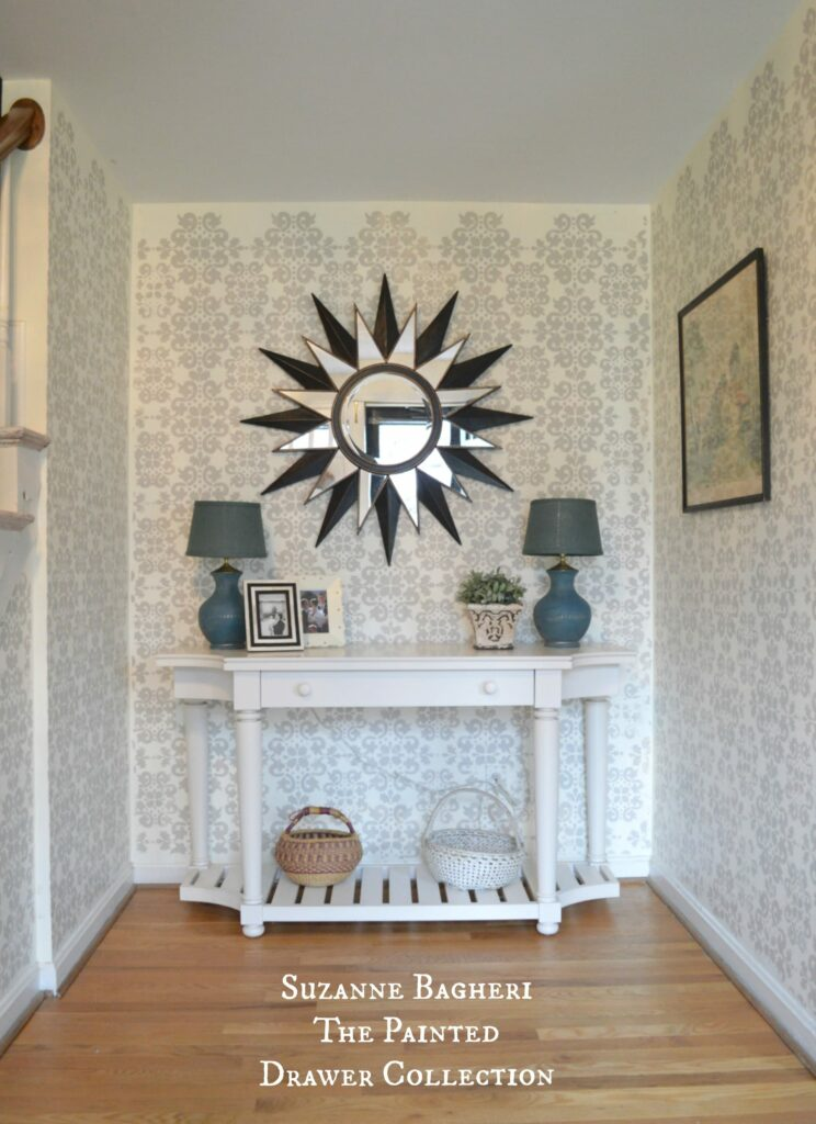 Stenciled Walls by Suzanne Bagheri at www.thepainteddrawer.om full tutorial on blog